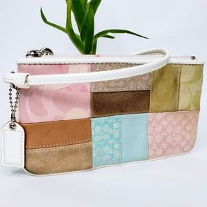 Coach Multi Color Panel Zip Top Wristlet